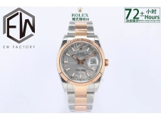 Replica Rolex Datejust 36mm Rose Gold/Steel Gray Motif Dial 2021 EWF