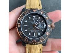 Replica Rolex GMT II DIW Carbon Black Dial Rose Gold on Yellow NYLON Strap A3186 CHS
