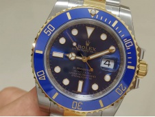 Replica Rolex Submariner 116613 LB Blue Two Tone Gold/Steel EWF A3135